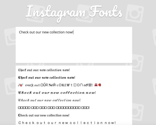 γραμματοσειρές instagram